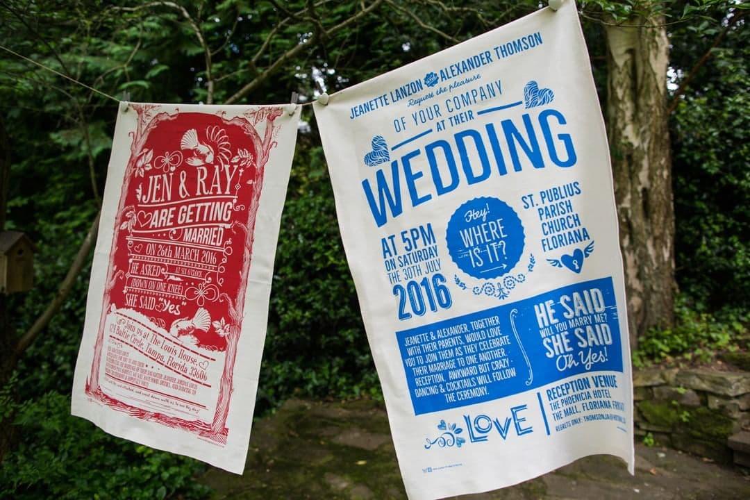 quirky wedding invites tea towels