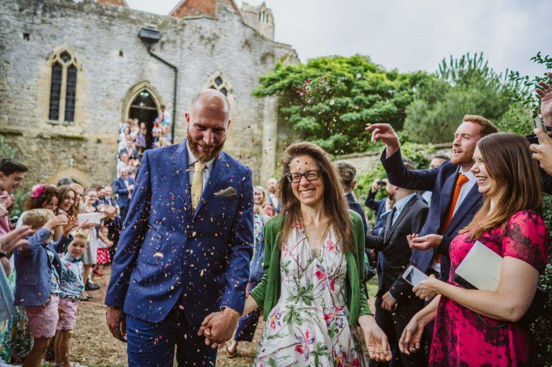 bride groom confetti Abbingdon Abbey