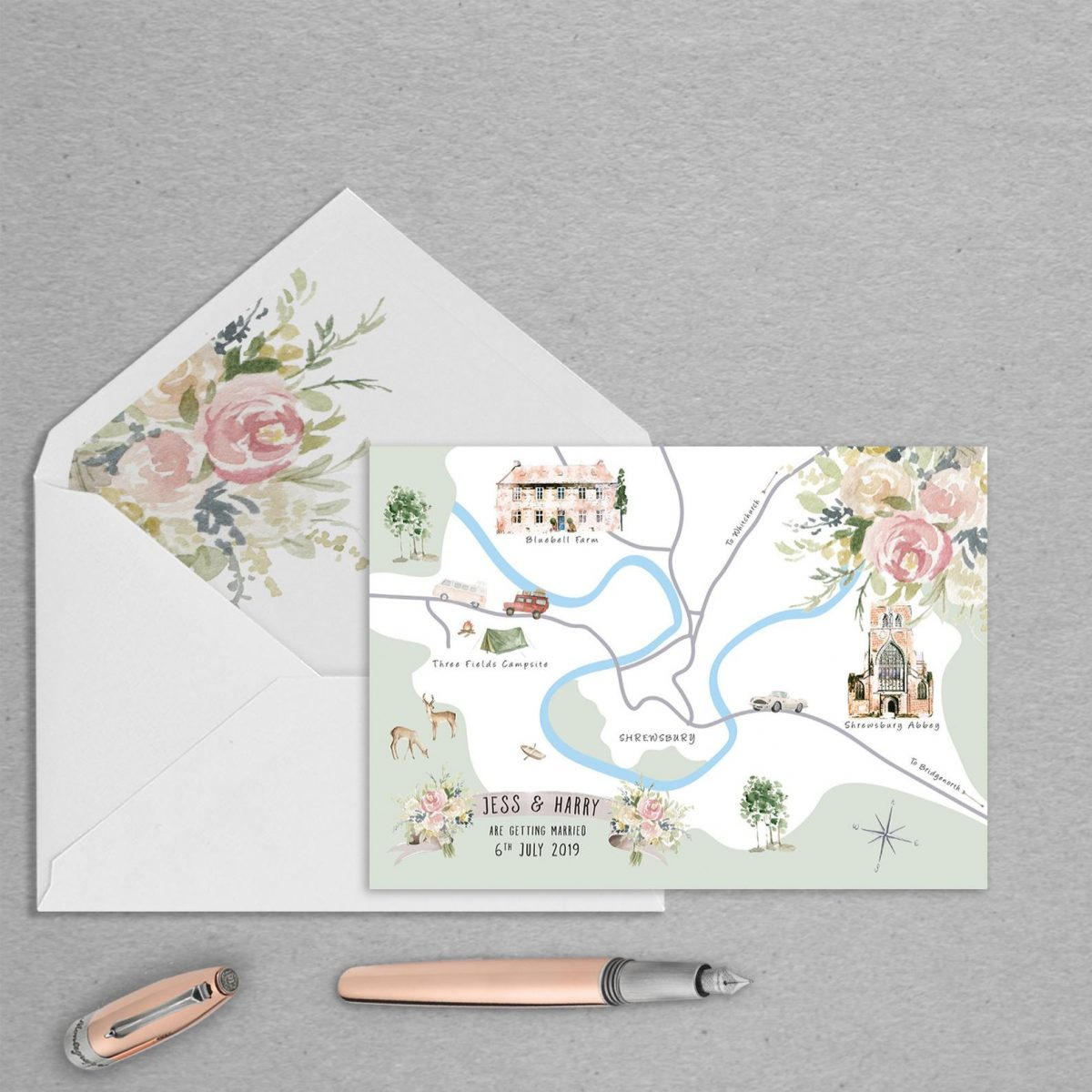 wedding map invites