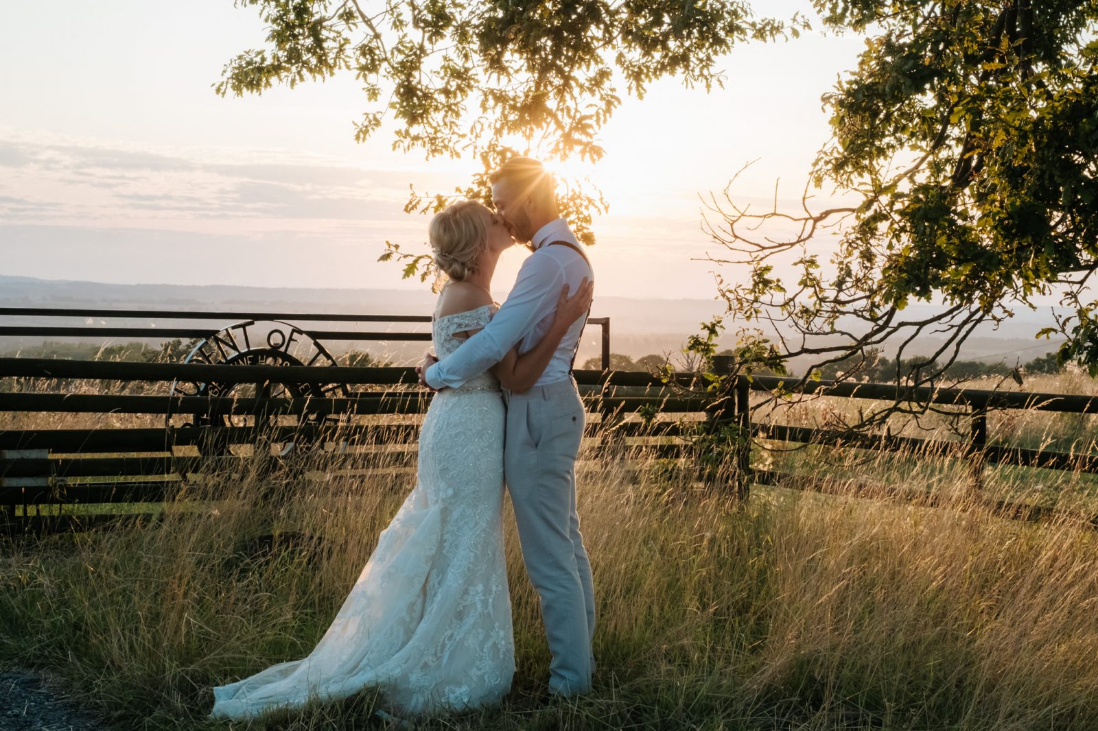 bride groom sunset field shropshire wedding photographer