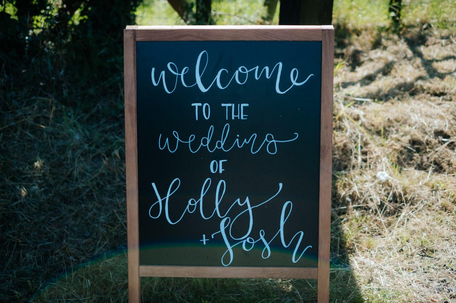 modern calligraphy wedding sign