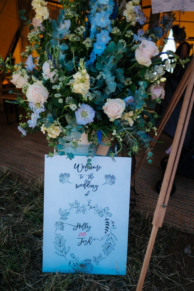 wedding sign modern calligraphy pastel flowers