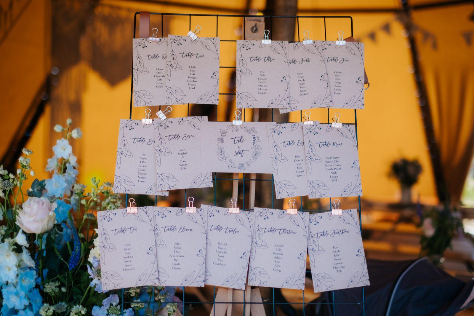wedding table plan modern calligraphy