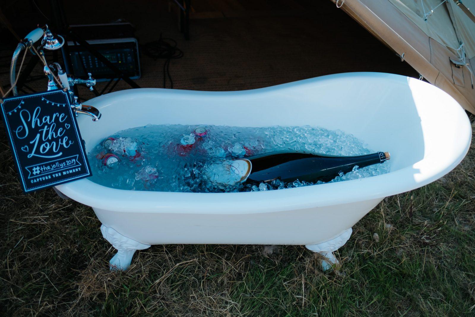 massive bottle champagne bathtub
