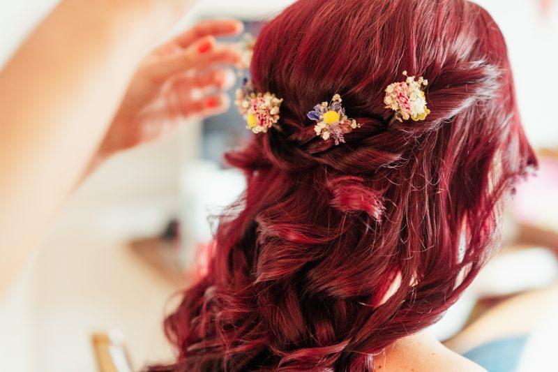 wildflowers wedding hair