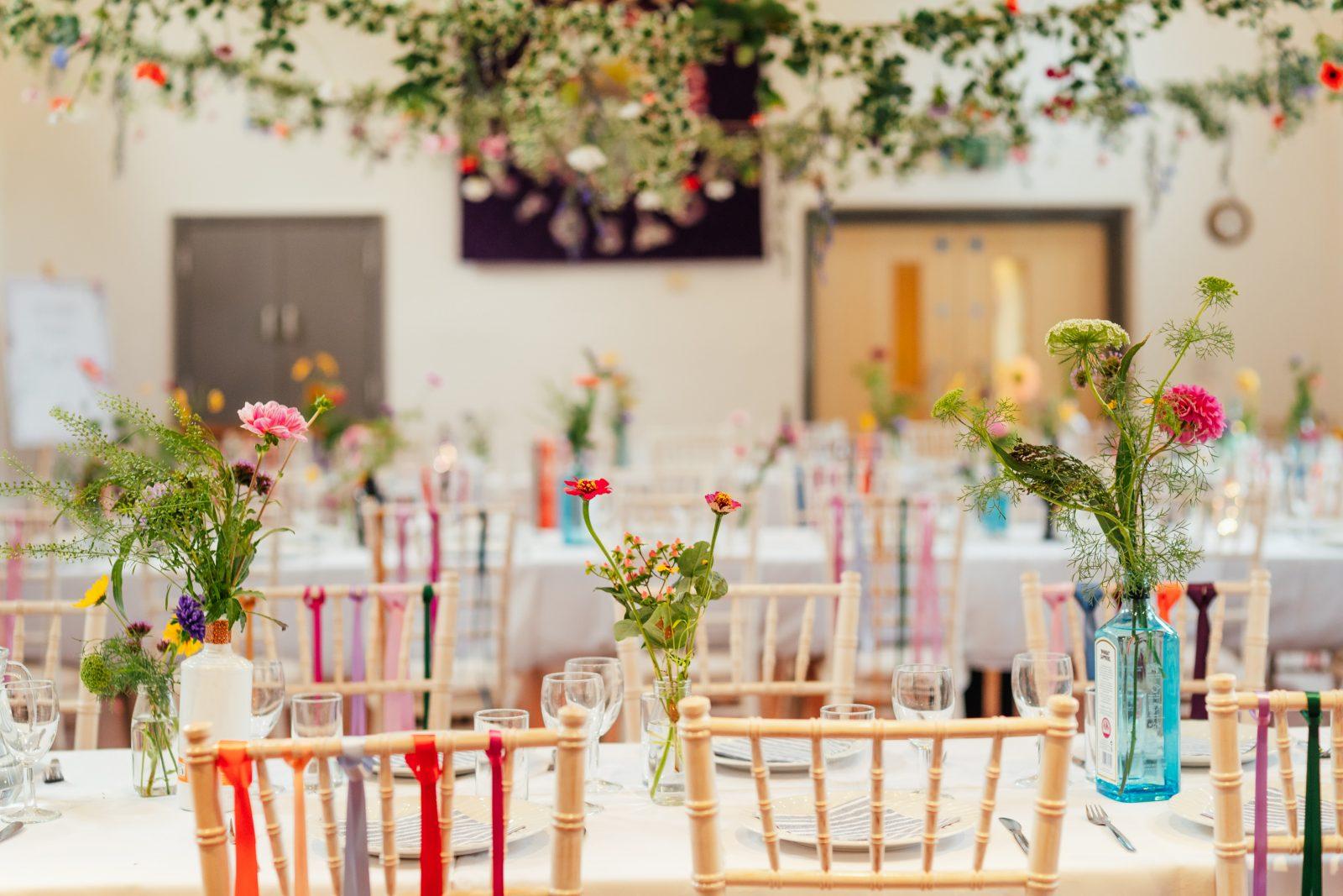 colourful wildflower wedding decor