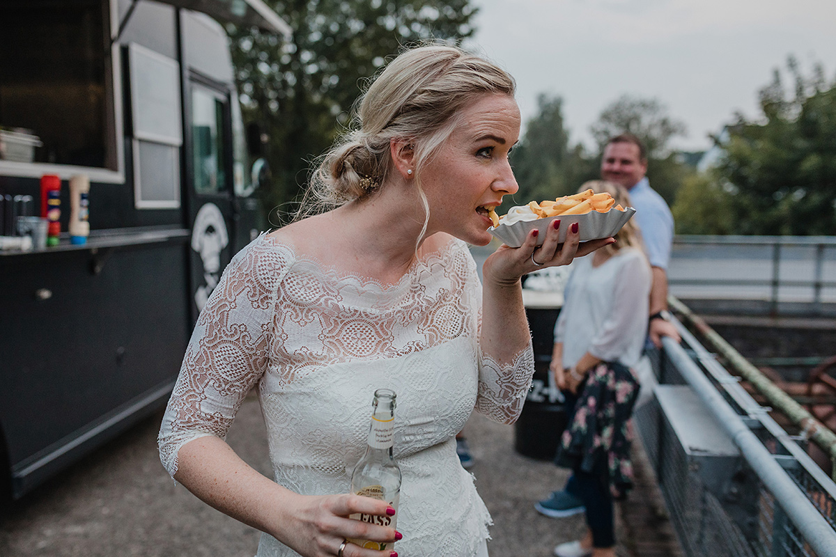 bride eating chips