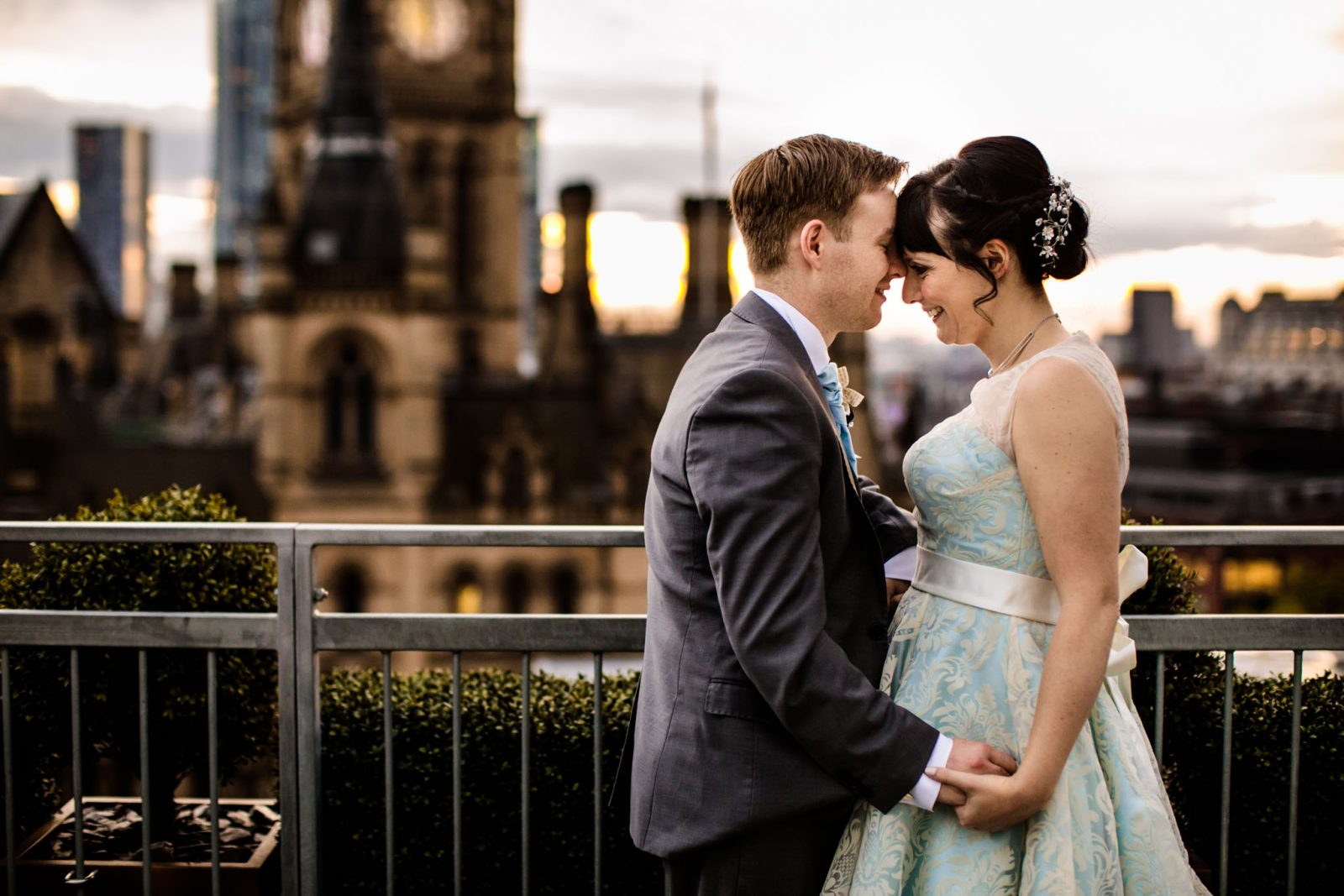 bride groom rooftop Manchester hotel