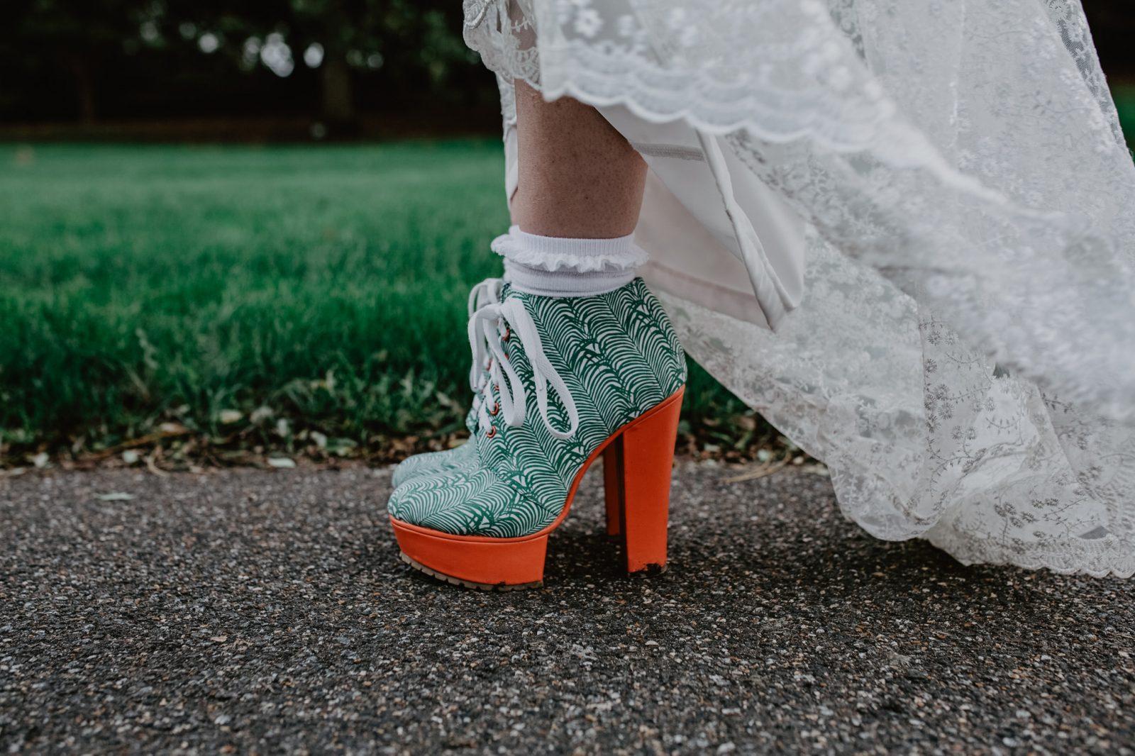 Green orange platform shoes alternative bride