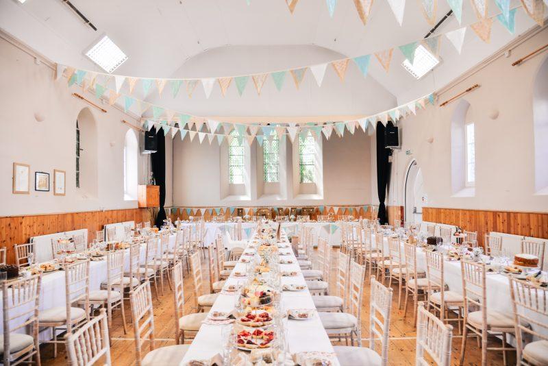 village hall DIY wedding bunting