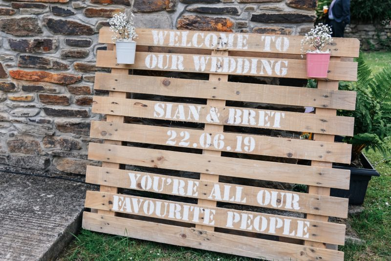 wooden crate wedding sign