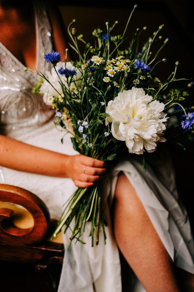 Blue white wild wedding flowers