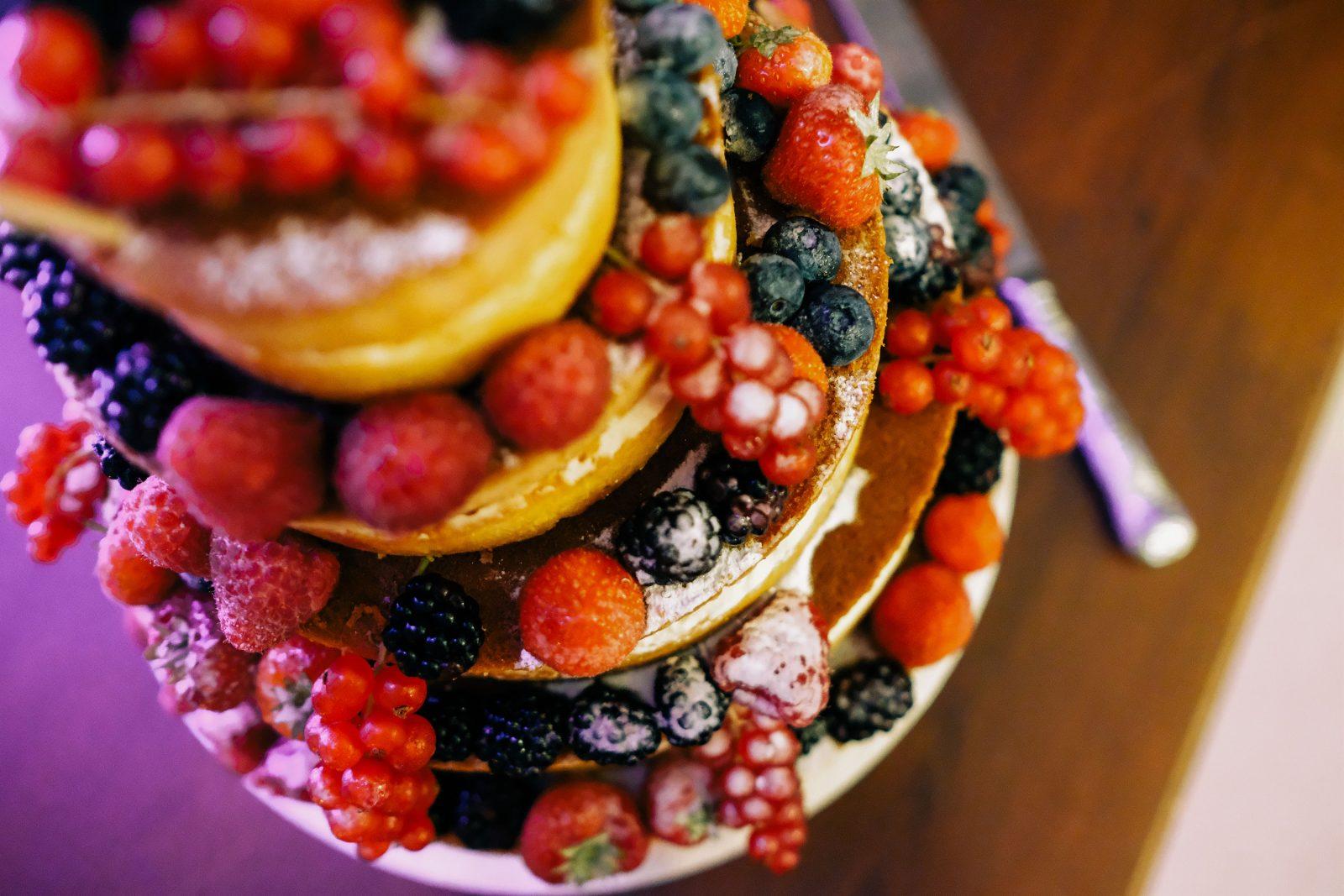 Naked wedding cake fruit decoration