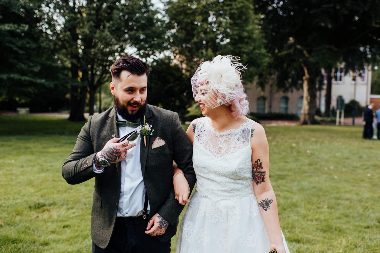 Registry office wedding with a beer garden reception