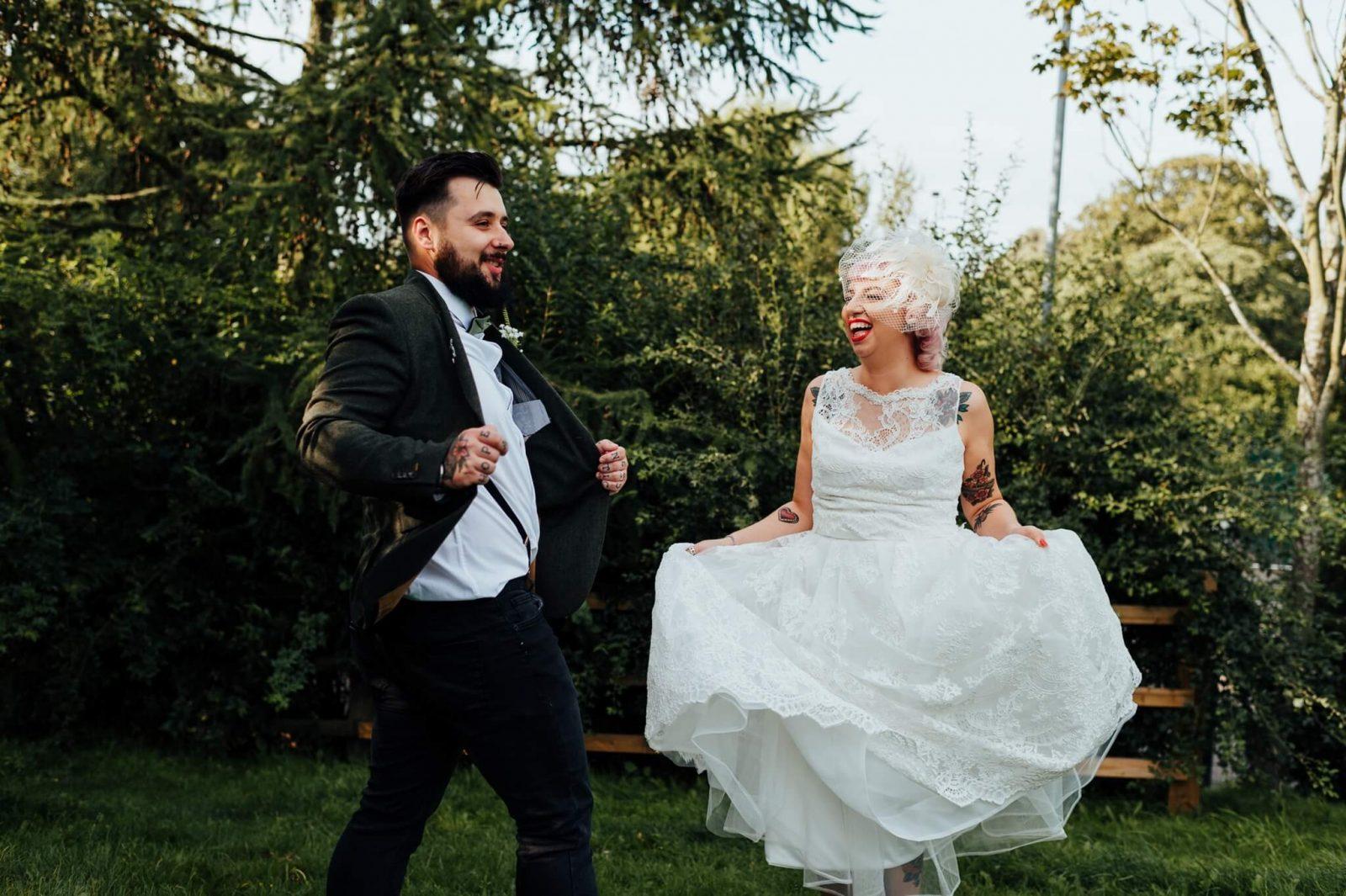 beer garden wedding vintage bride